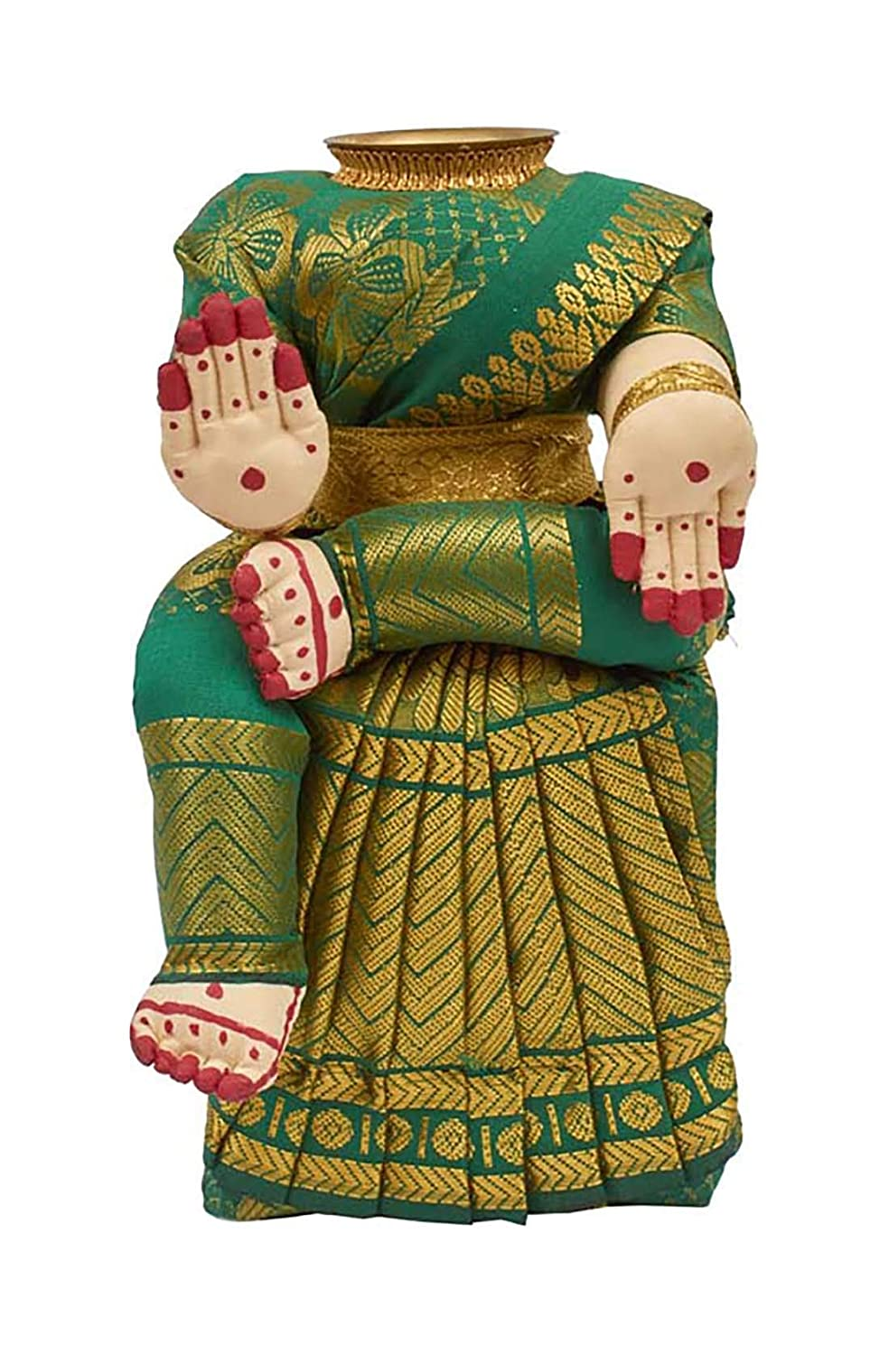 Divine Goddess Varalakshmi Nombu/Viradham/Pooja Decorative Doll With Inner Copper Coated Kalasa | Height: 10 Inches | Pack Of 1 Doll | Colour May Vary
