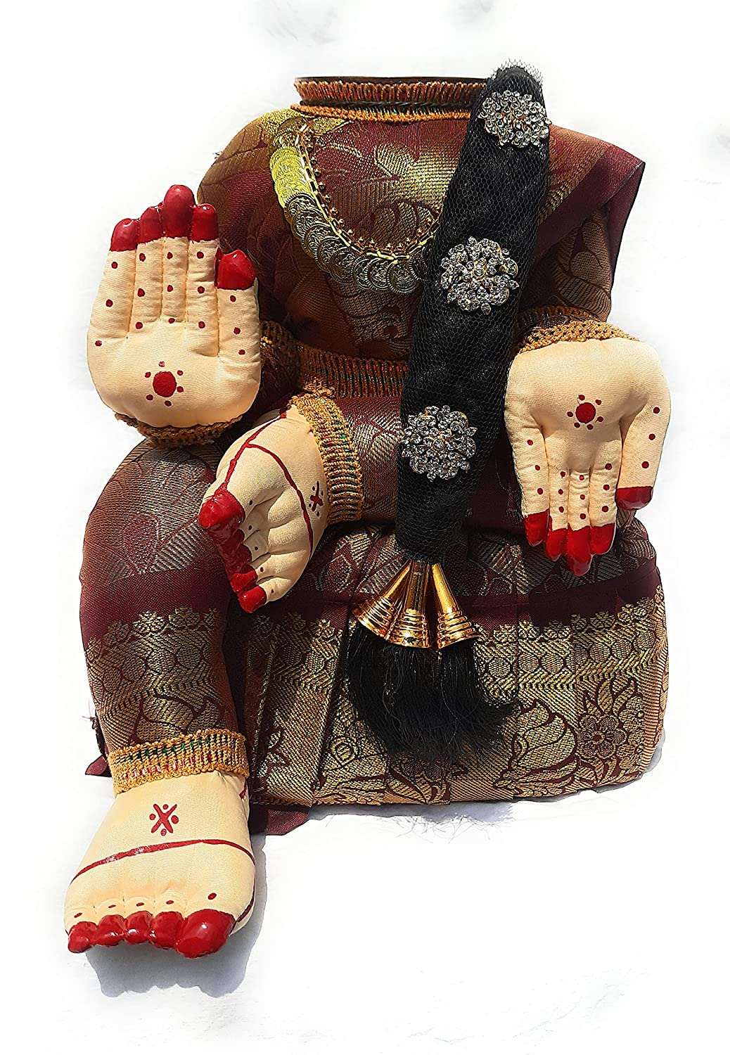 Divine Goddess Varalakshmi Nombu/Viradham/Pooja Decorative Doll With Jadai And Chain | Inner Copper Coated Kalasa | Height: 12 Inches | Pack Of 1 Doll | Colour May Vary (Multicolor)
