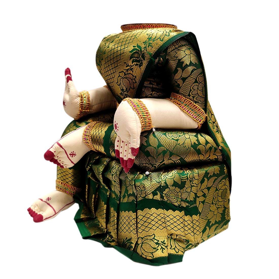 Divine Goddess Varalakshmi Nombu/Viradham/Pooja Decorative Doll With Inner Copper Coated Kalasa | Height: 9 Inches | Pack Of 1 Doll | Colour May Vary (Multicolor)