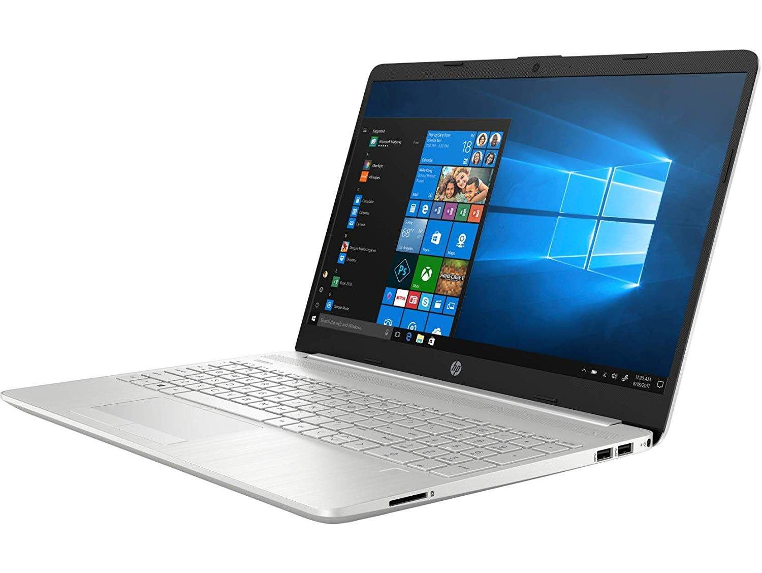 HP 15s-du00096tu 15.6- Laptop (8th Gen I5-8265U/8GB/1TB HDD + 256GB SSD/Windows 10 Home/2.04 Kg), (Natural Silver)