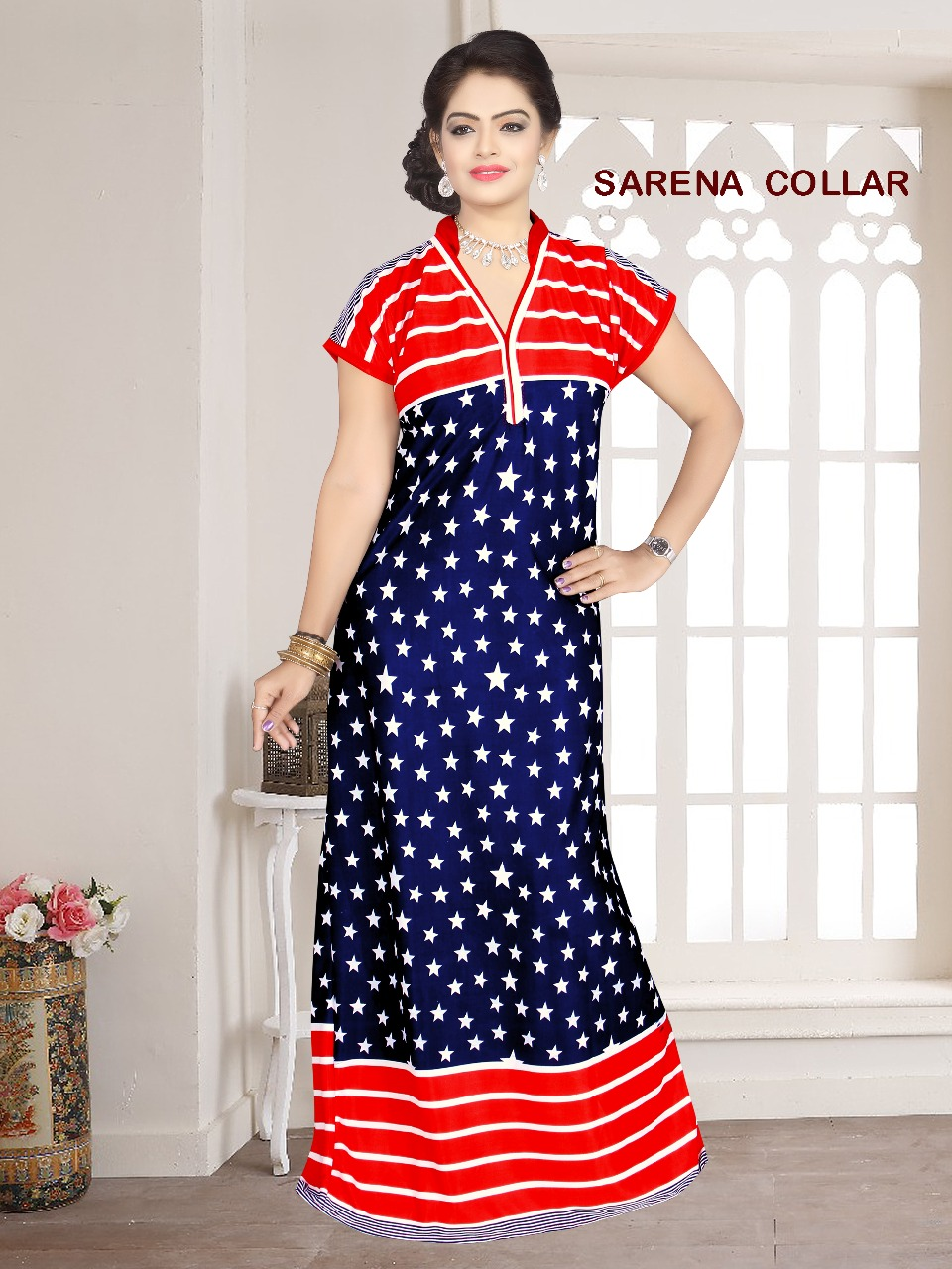 Fancy Sarina Nighty With Piping
