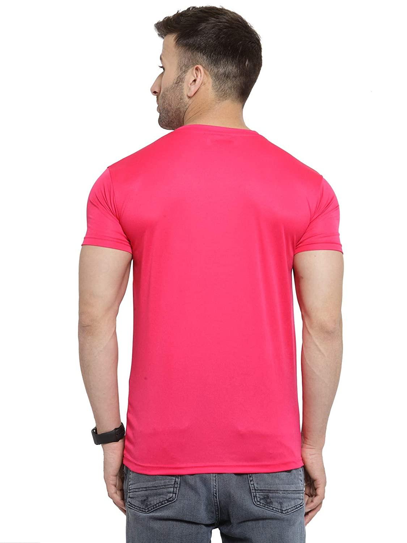 Premium Quality Men's Polyester Round Neck Pink T-Shirt (S-38)