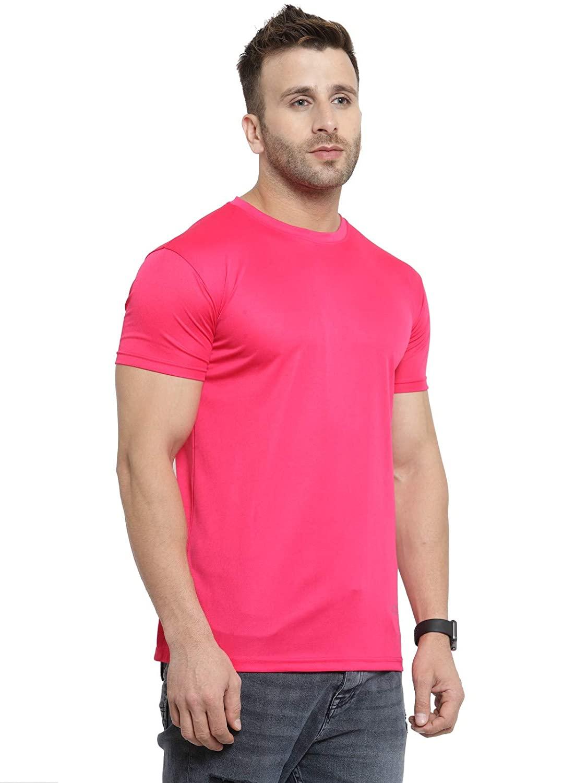 Premium Quality Men's Polyester Round Neck Pink T-Shirt (L-42)
