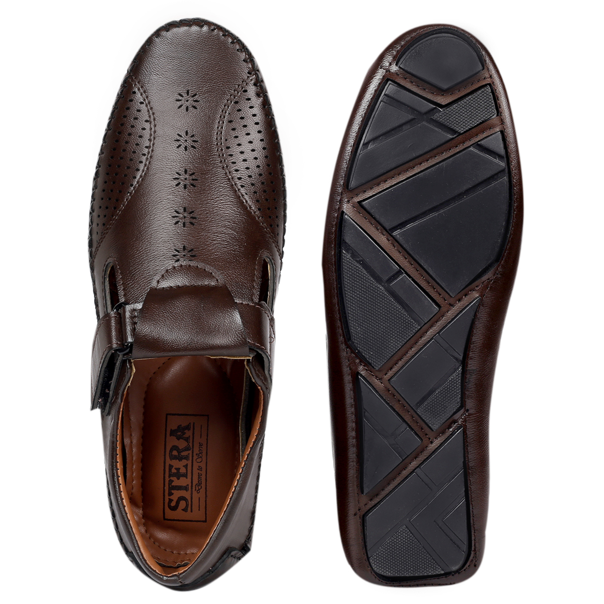 STERA MEN'S TRADITIONAL & STYLISH DRIVING ROMAN SANDAL WITH BLASTER SYNTHETIC.NHT-DRV-SAN-7002-BROWN (BROWN,6-10,8)