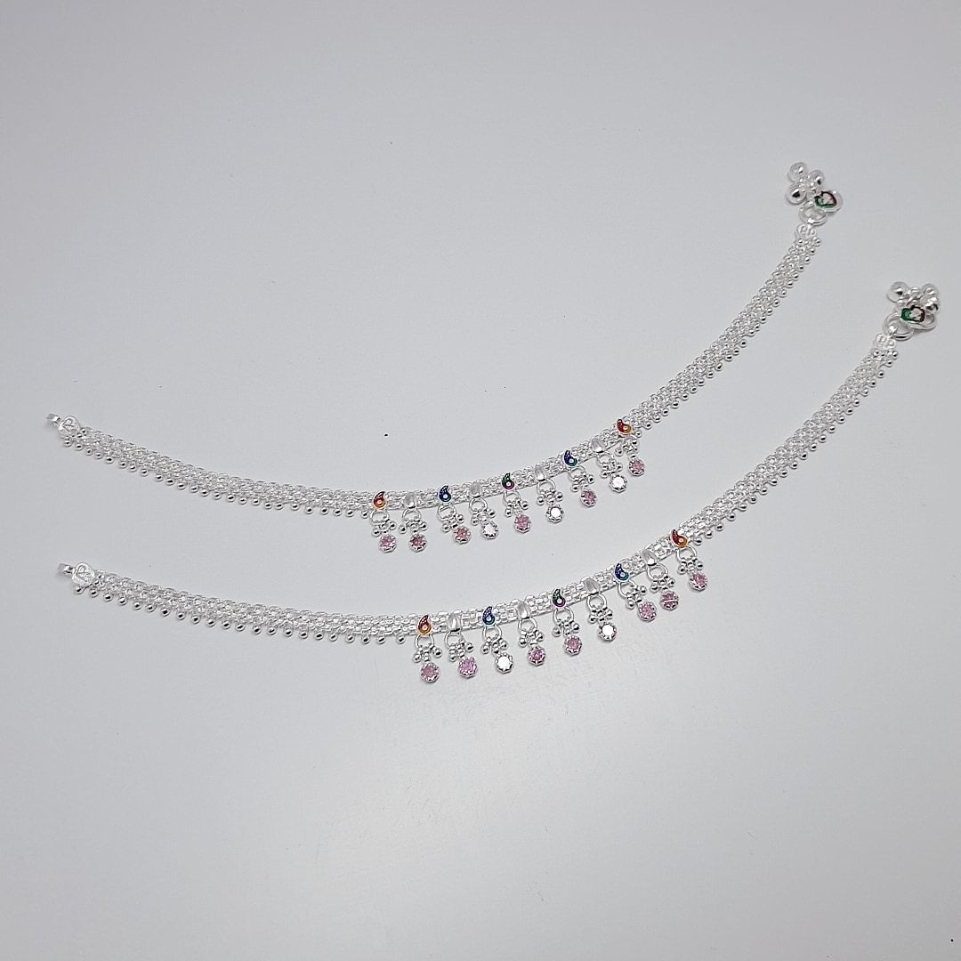ANANYA SILVER ANKLETS 11 INCHES