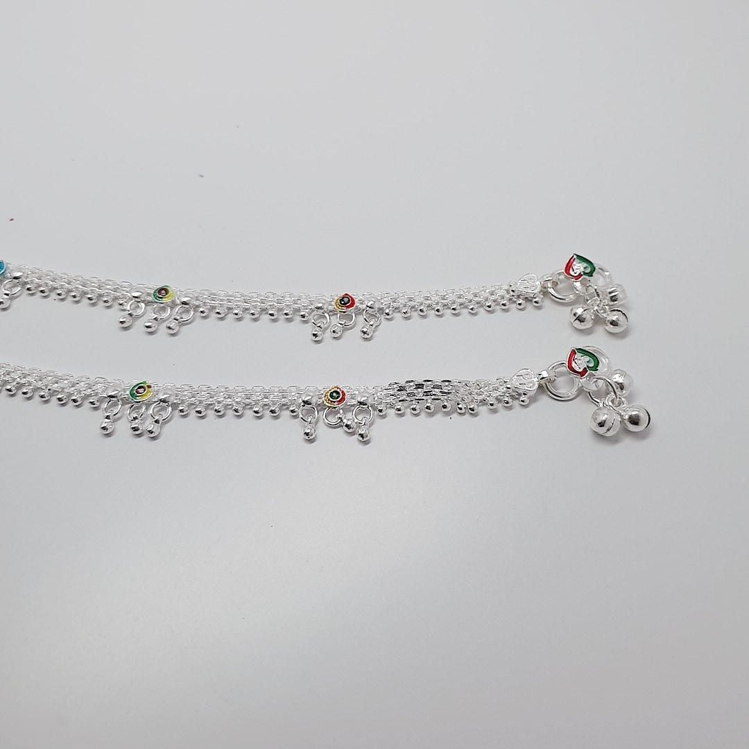 AMORE MESH SILVER ANKLETS