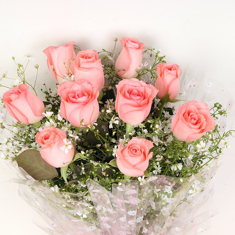 Prime 10  Pink Roses Bouquet