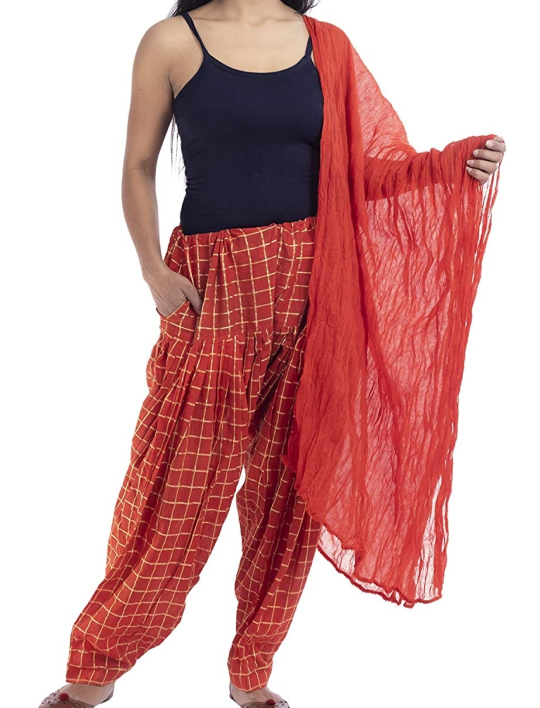 Samridhi Collections Combo Of Women's Cotton Patiala Golden Check Print With Dupatta (Red)