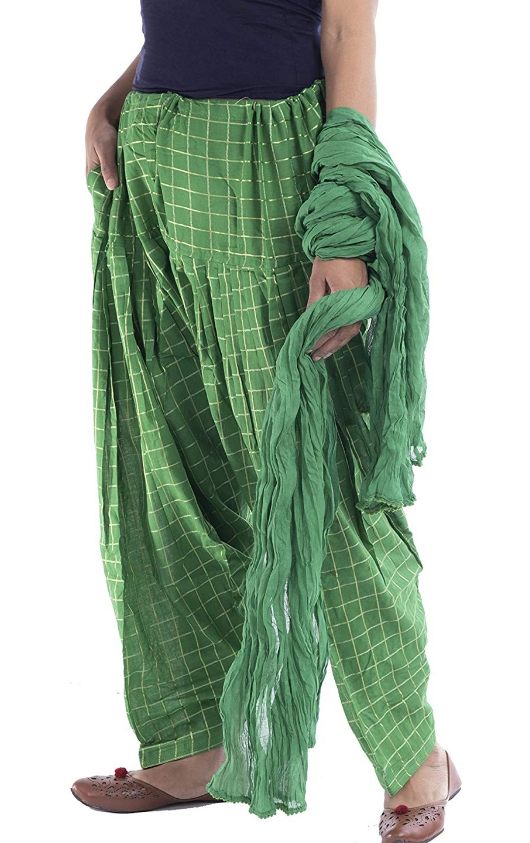 Samridhi Collections Combo Of Women's Cotton Patiala Golden Check Print With Dupatta (Green)