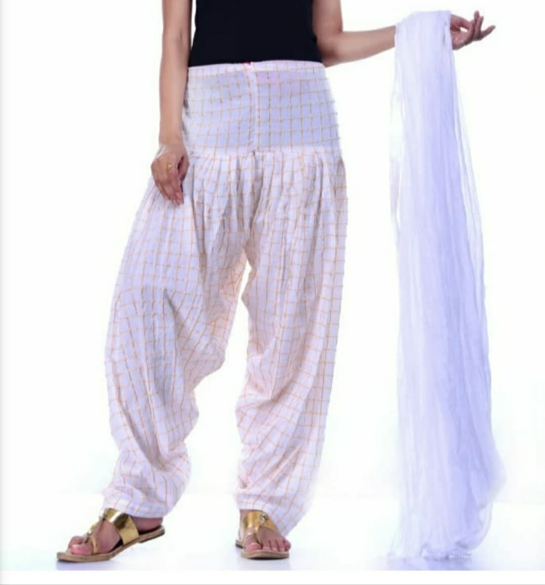 Samridhi Collections Combo Of Women's Cotton Patiala Golden Check Print With Dupatta (White)