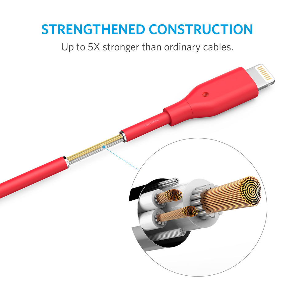 PowerLine USB A To Lightning Cable - 10ft (Red)