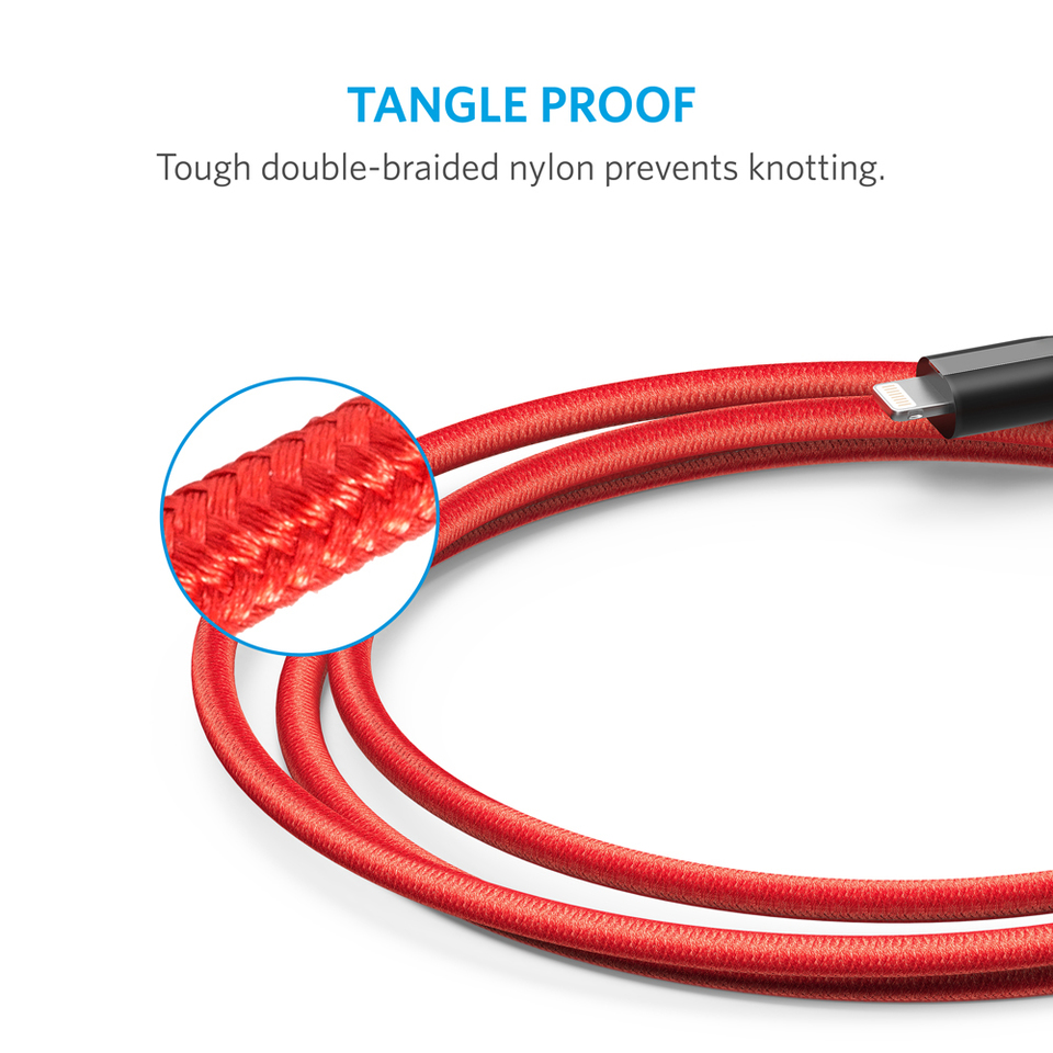 Anker PowerLine+ Lightning Cable - 3ft (Red)