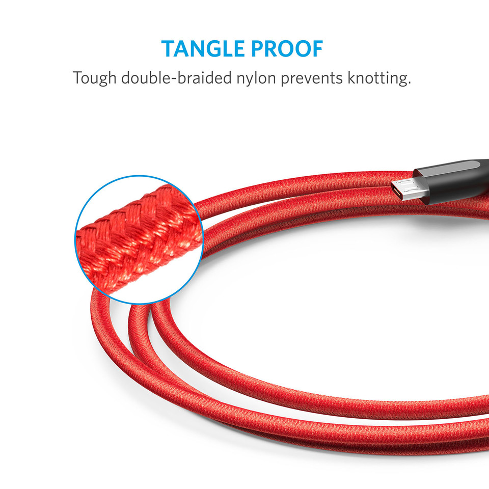 Anker PowerLine+ Micro Cable - 6ft (Red)
