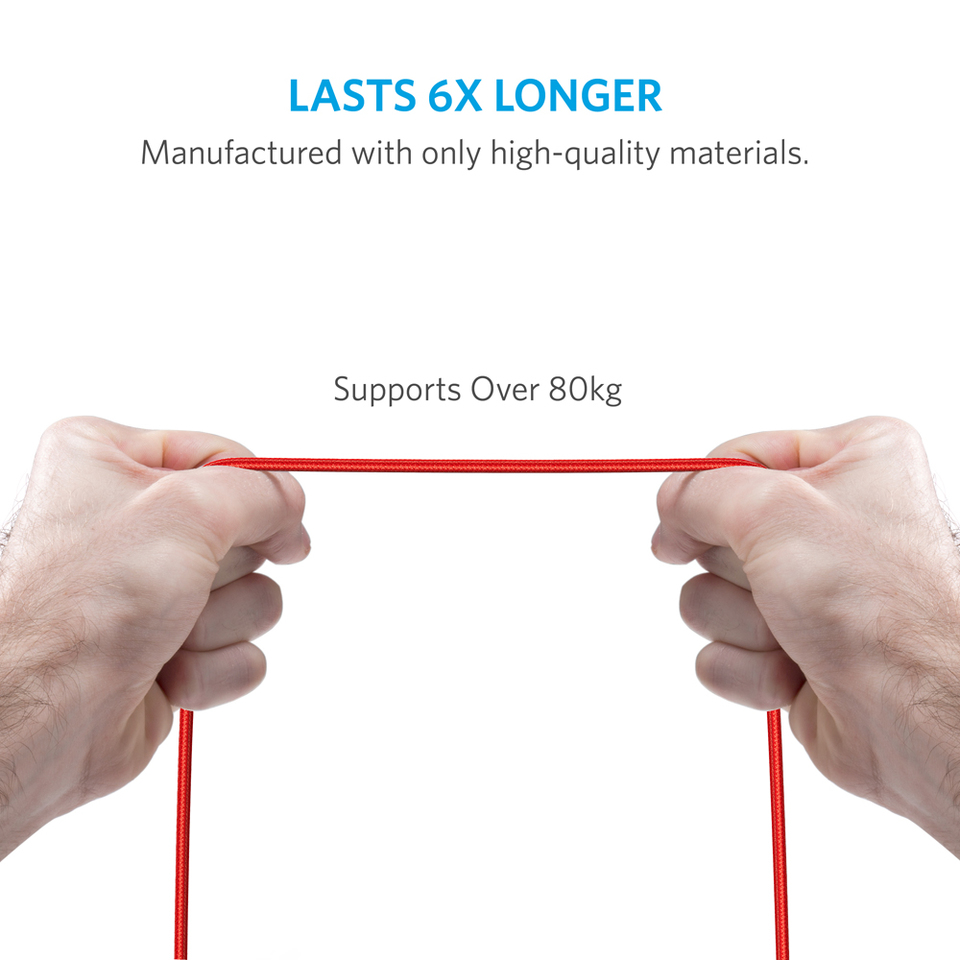 Anker PowerLine+ Lightning Cable - 6ft (Red)