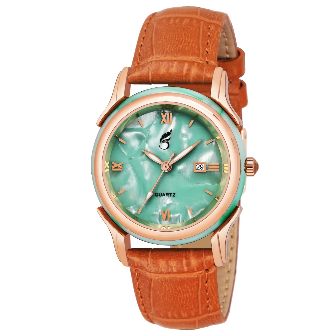 Style Feather Sky Blue Leather Strap Women Watch