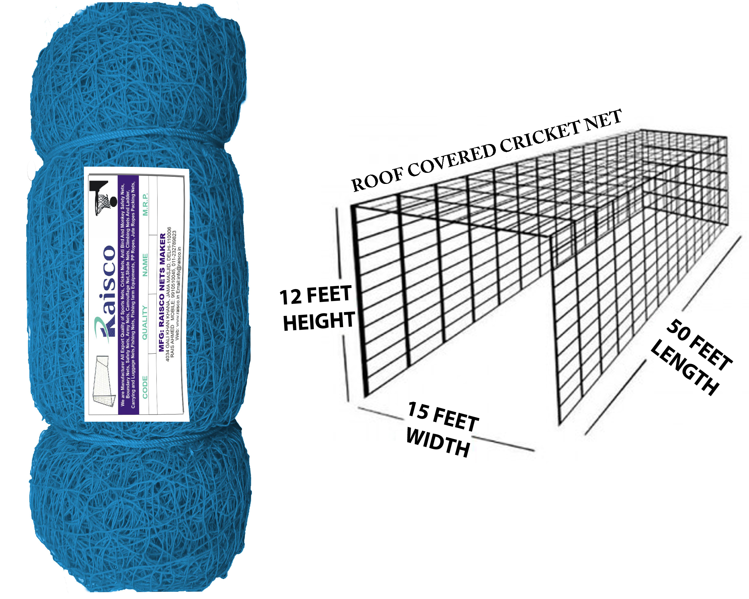 Raisco Nylon 30x10 Feet Ground Boundary And Practice Cricket Net (Blue, 30*10 Feet, 0.6 mm)