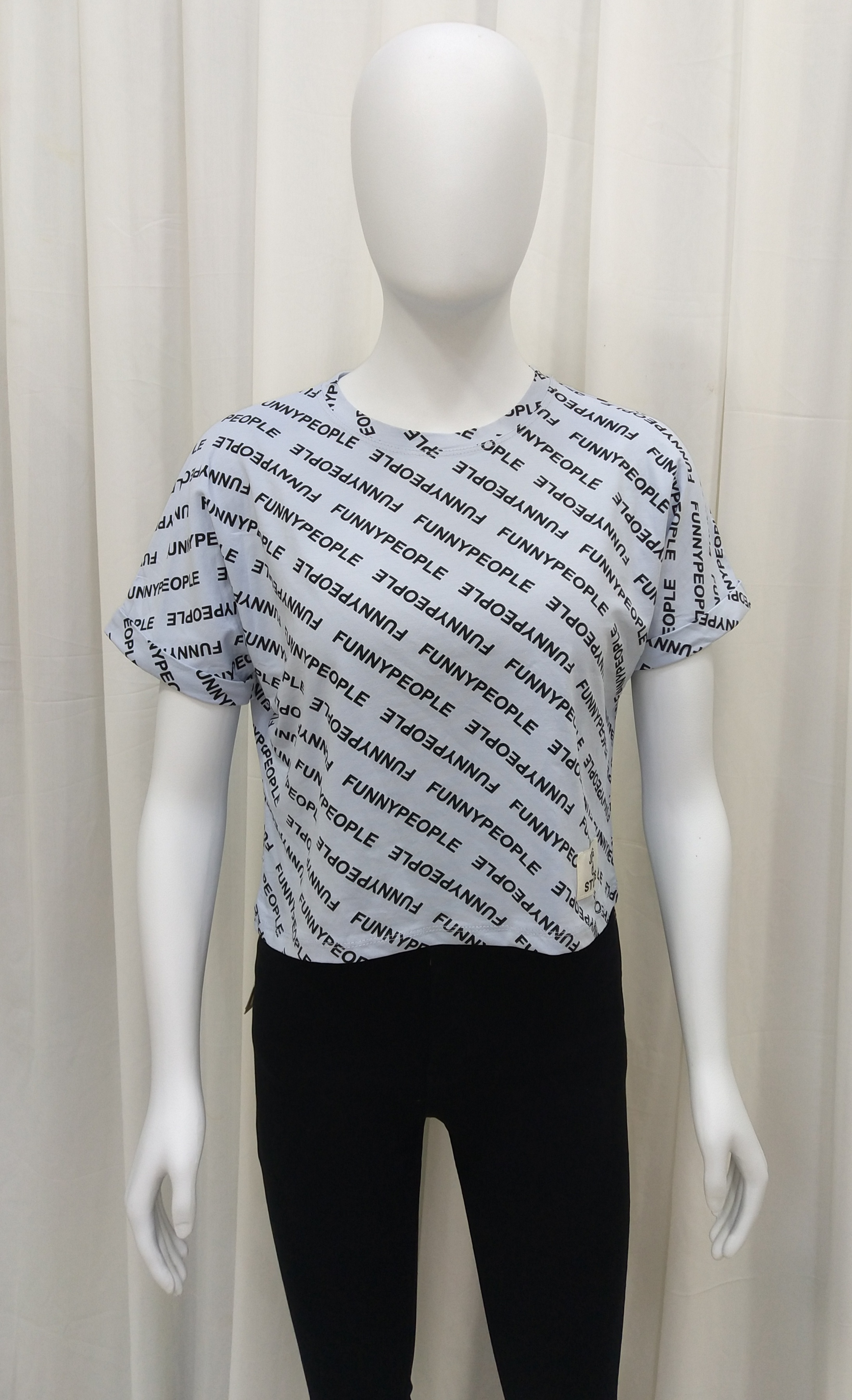 Chic Style Cross Graphic Print Crop Tees For Women (L, Sky Blue)