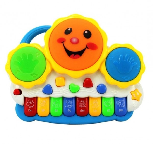 Drum Keyboard Musical Toys With Flashing Lights - Animal Sounds And Songs, Multi Color