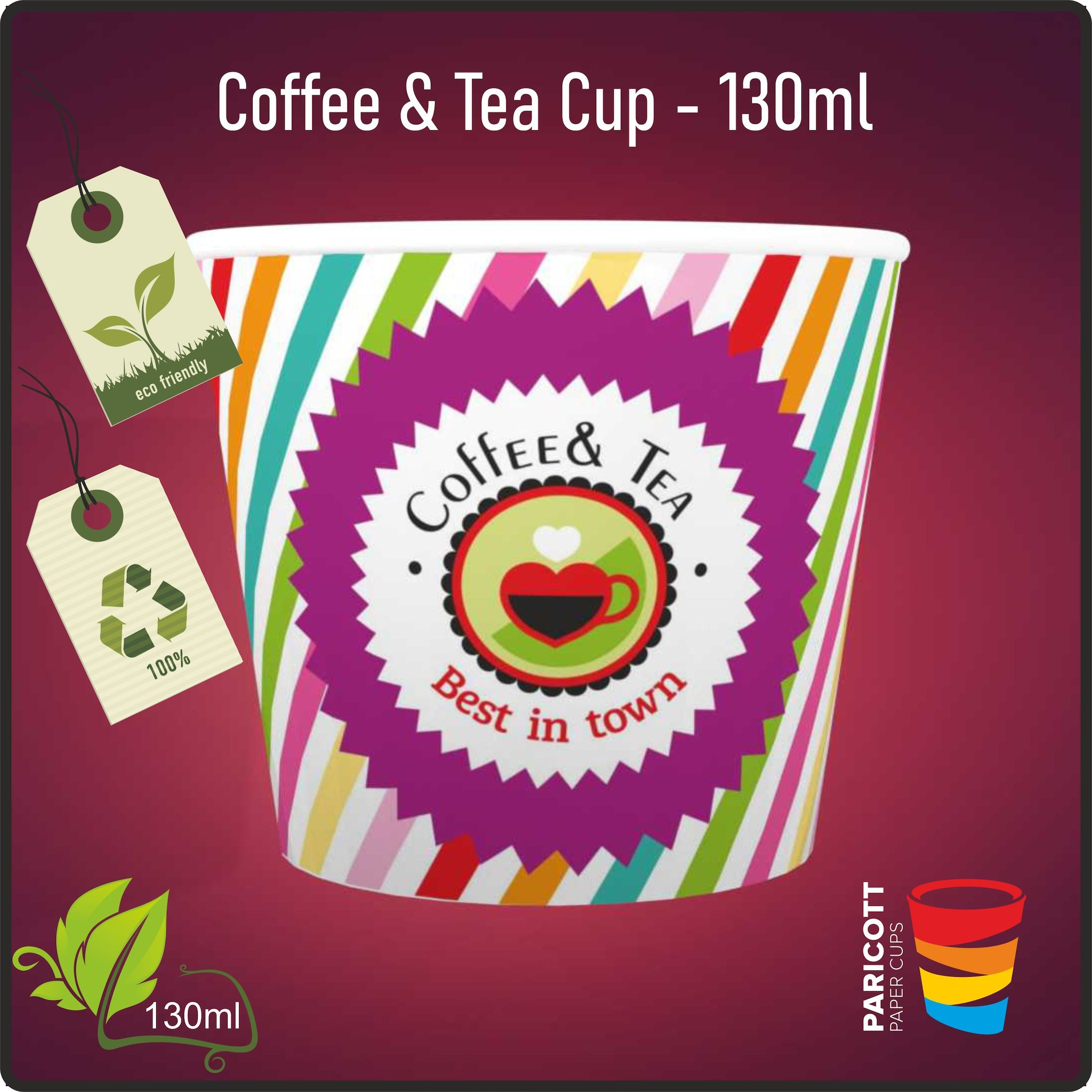 130ml Multi Color Best In Town Paper Cups (500)
