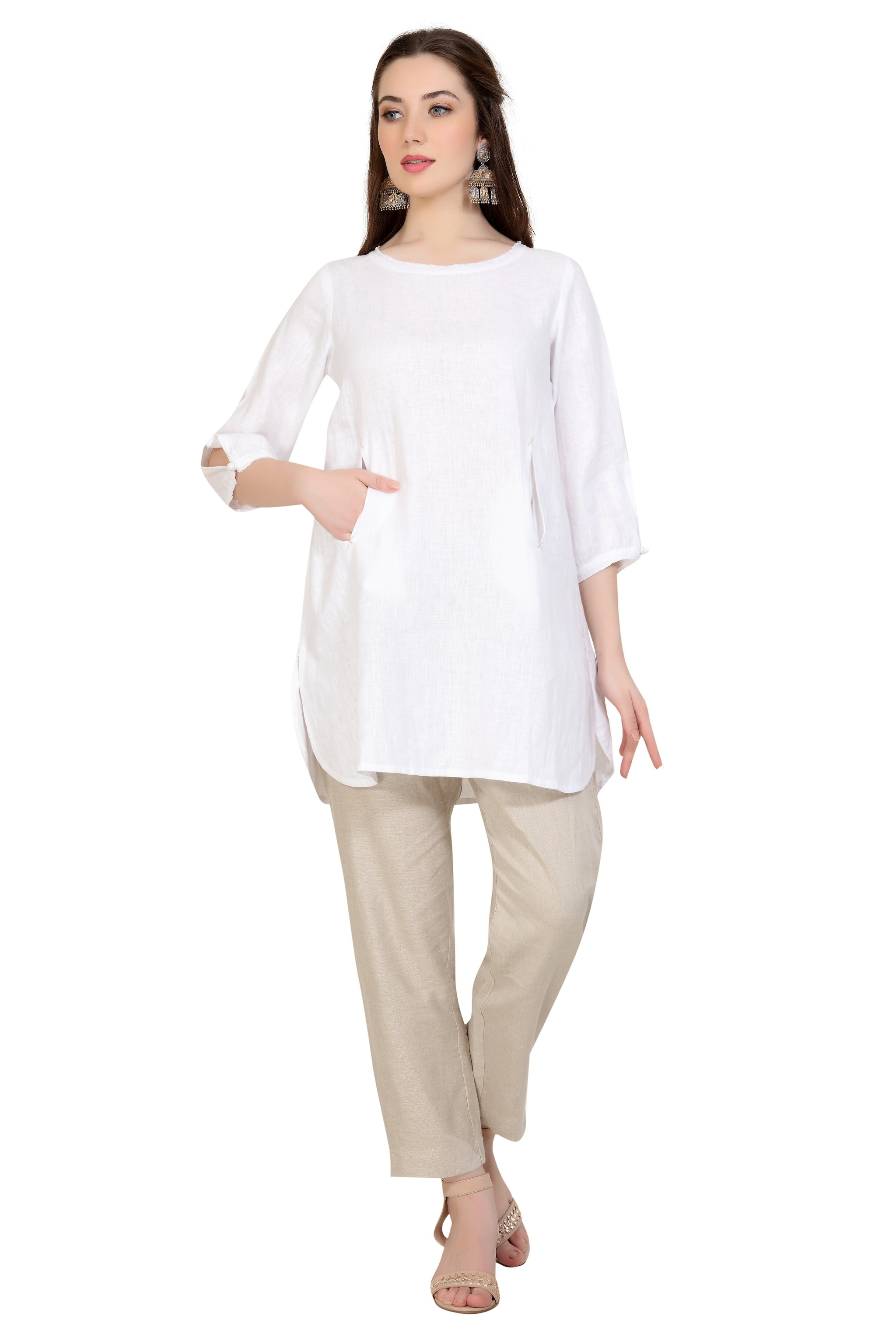 190158 Bleach Linen Front Pocket Top XS - White (XS,White)
