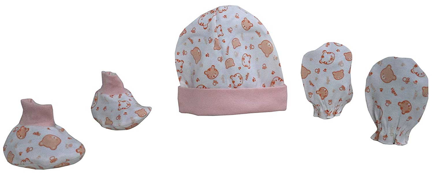 Happy Baby's Cap,U-Shaped Mittens And Booties Set/For Your Juz Born Cutie Pies/Pack Of 12 Sets(RATE PER SET=Rs.70)