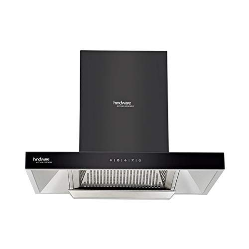 Hindware ALICIA 90 HEAT AUTO CLEAN Auto Clean Wall Mounted Chimney (BLACK 1200 CMH)