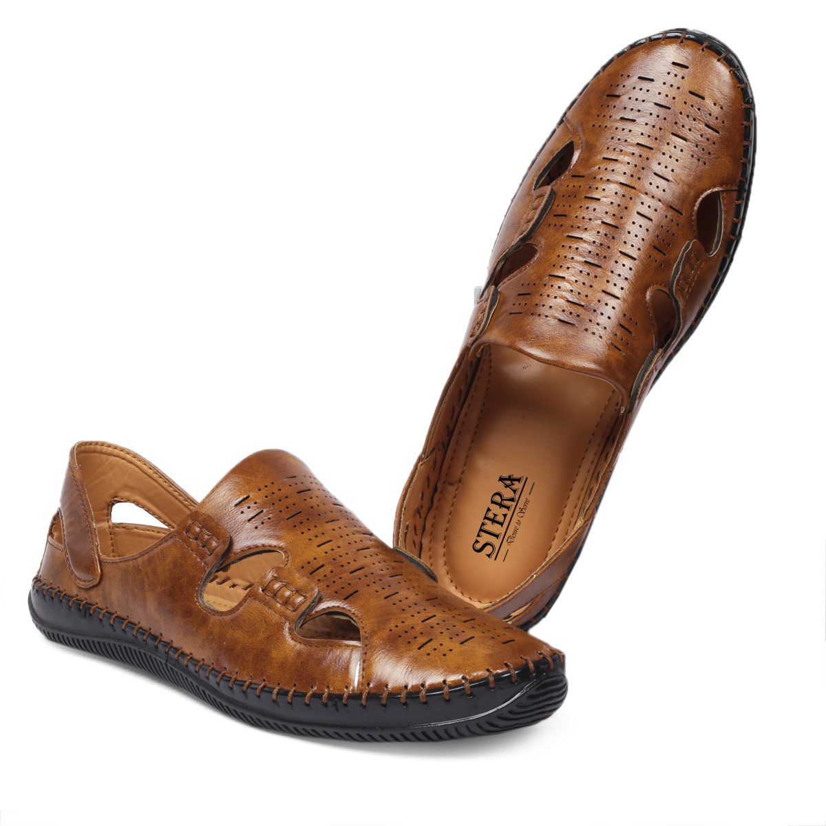 STERA MEN'S CLASSIC & TRADITIONAL WEAR ROMAN SANDAL WITH STITCH SOLE NHT-SAND-7004-TAN (TAN,6-10,8 PAIR)