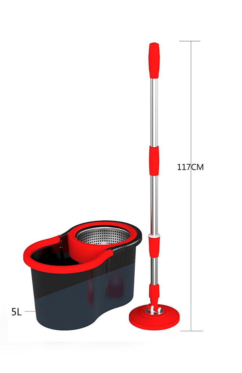 SPAZIES SPINNING MAGIC BUCKET MOP SET WITH 2MOP REFILL