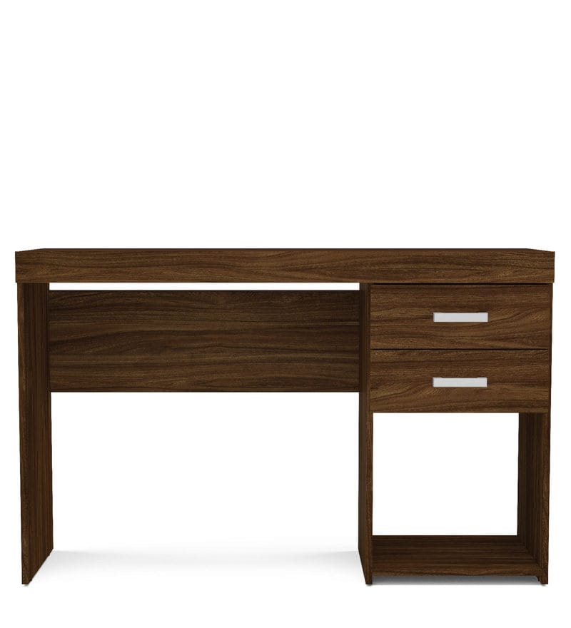 Masaki Study Table With 2 Drawers In Walnut Brown Finish