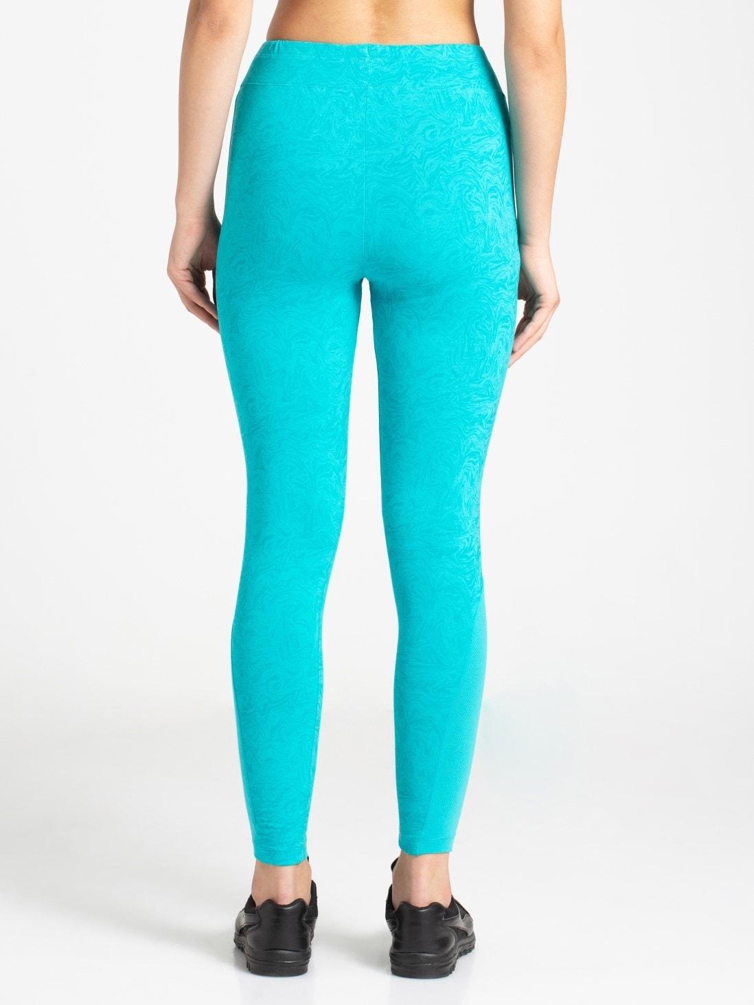 Jockey Womens Teal Printed Yoga Pant (S,Printed Teal)