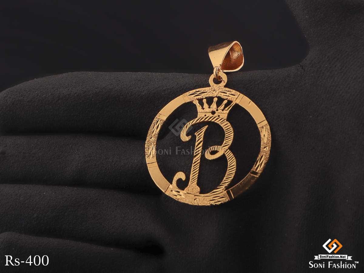 King B In Circle Golden Pendent