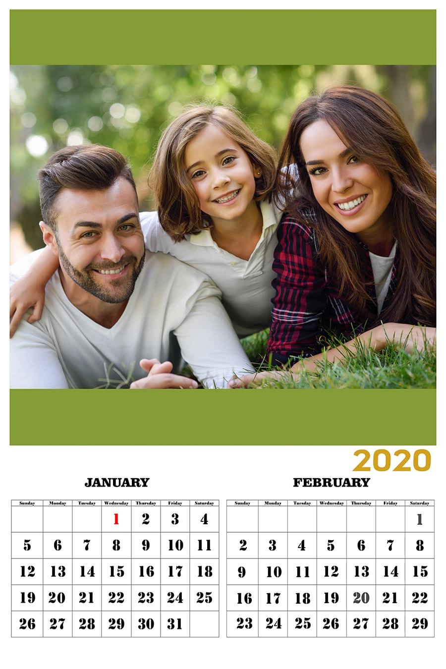 CALENDAR 2020 GOLD (Non Tearable Sheets)