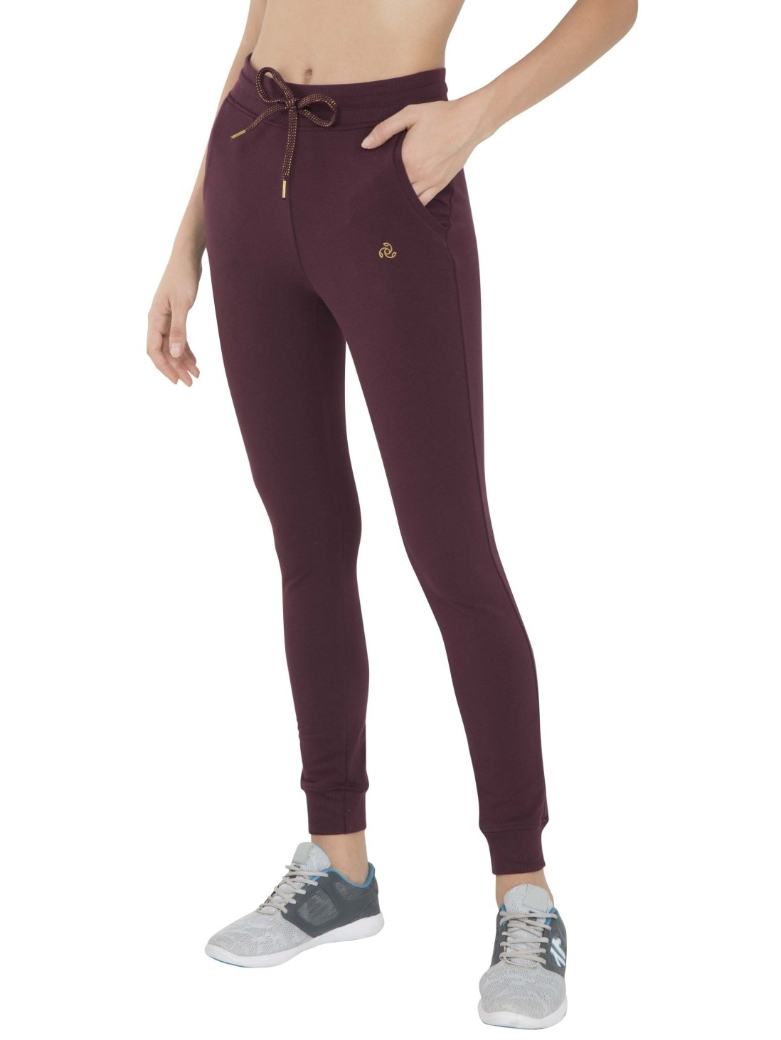 Jockey Womens Wine Cuffed Track Pant (M,Wine)