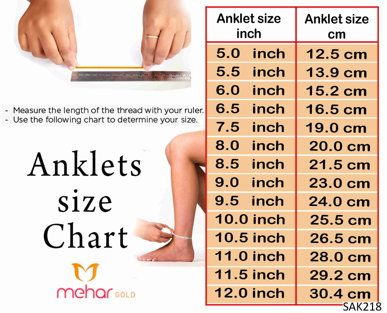 ANKLETS (12INCH)