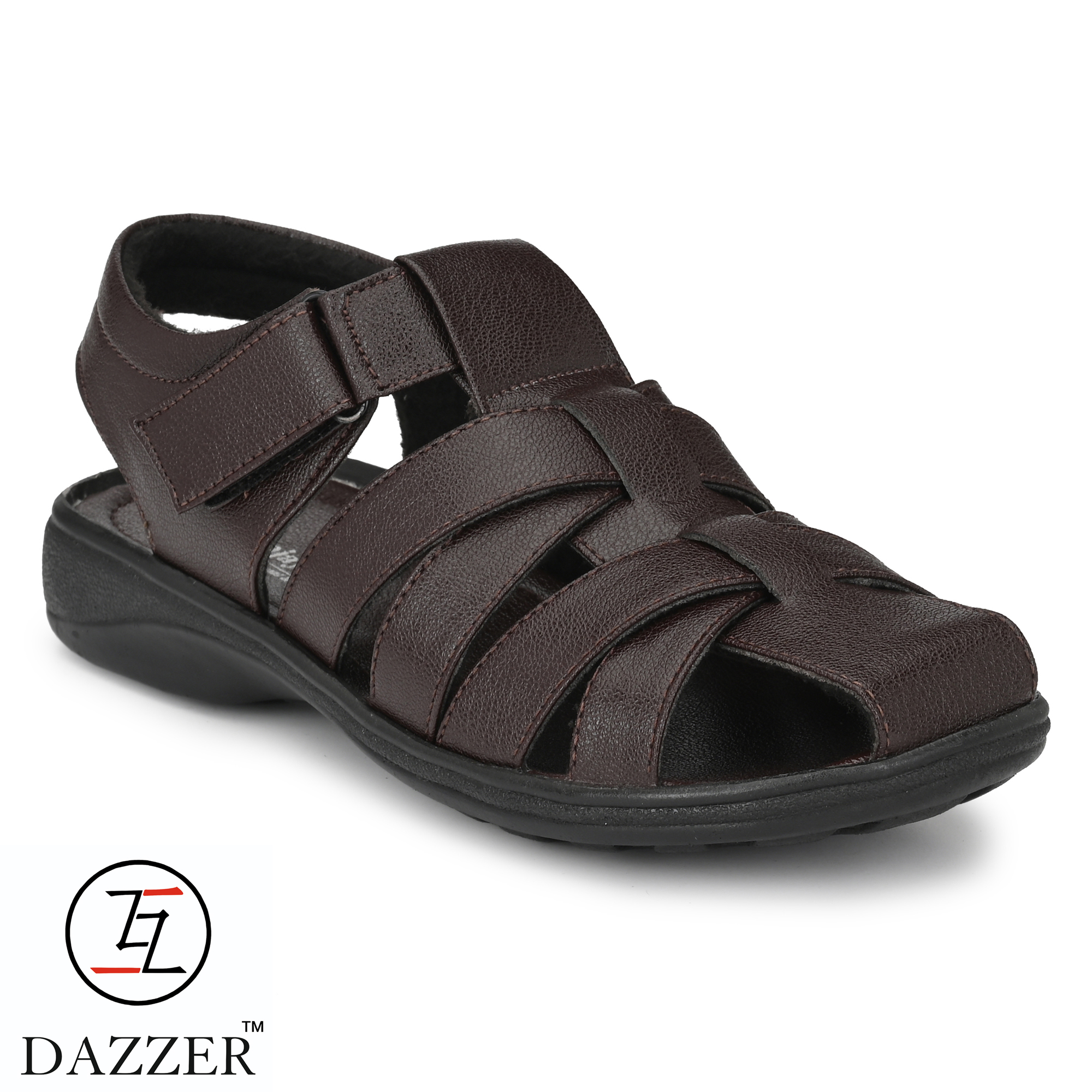 Dazzer 581 Velcro Synthetic Sandals For Men 581Brown (Brown, 6-10, 8 PAIR)