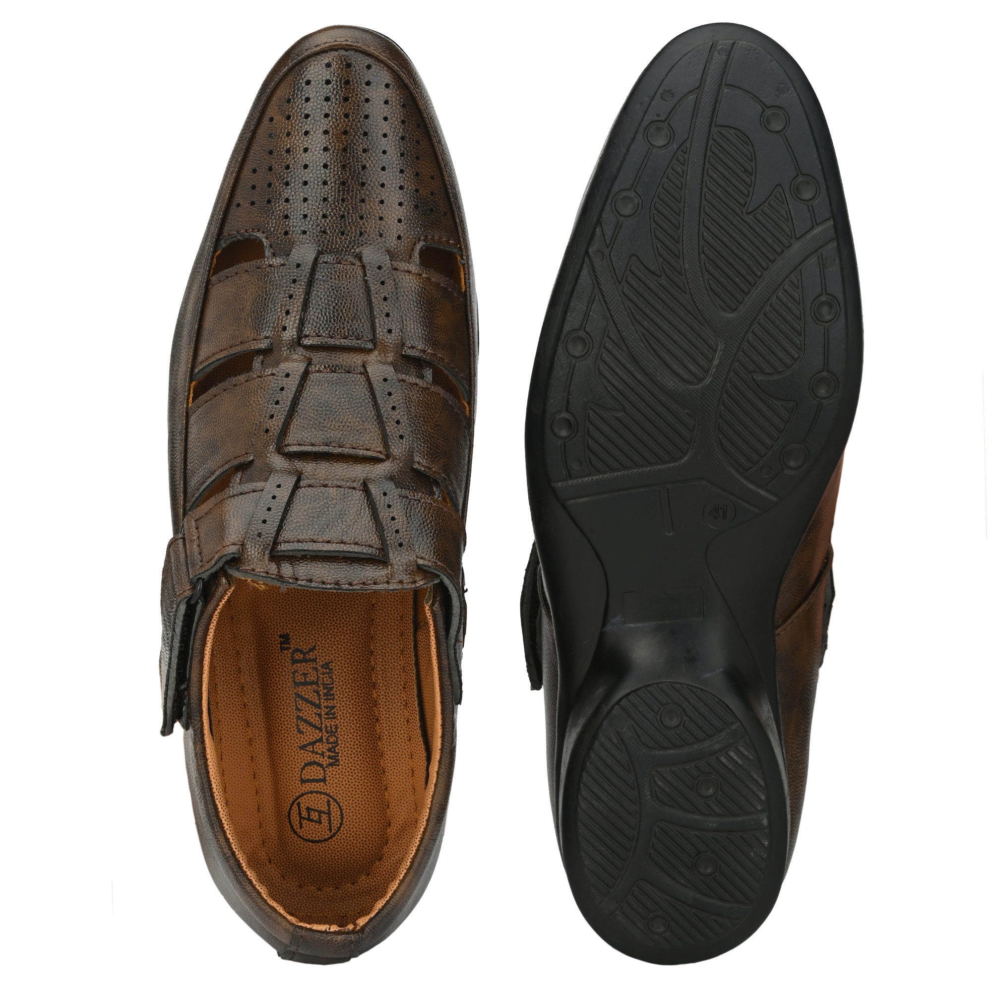 Dazzer 650 Velcro Synthetic Sandals For Men 650Brown (Brown, 6-10, 8 PAIR)