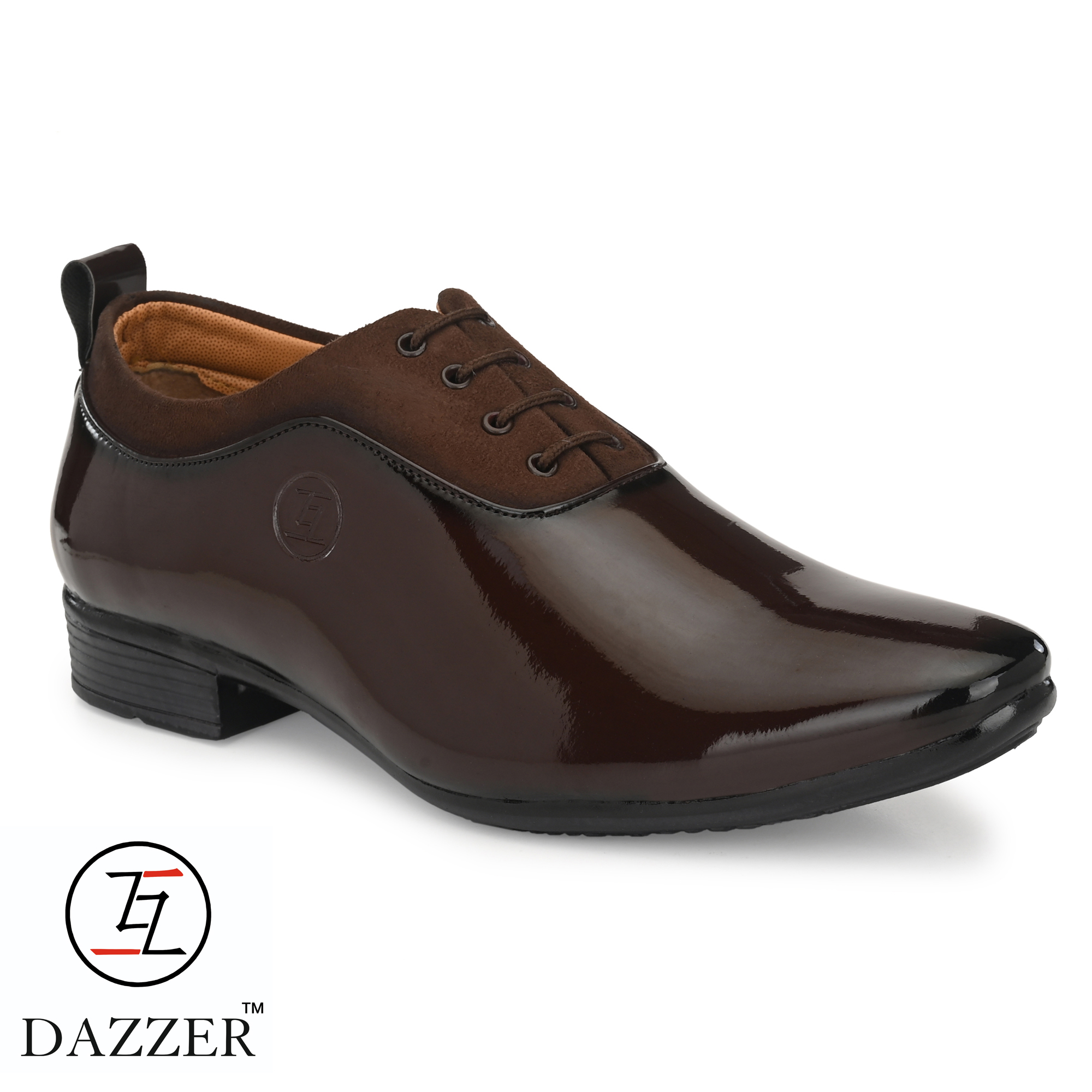 Dazzer 641 Lace Up Patent Formal Shoes For Men 641Brown (Brown, 6-10, 8 PAIR)