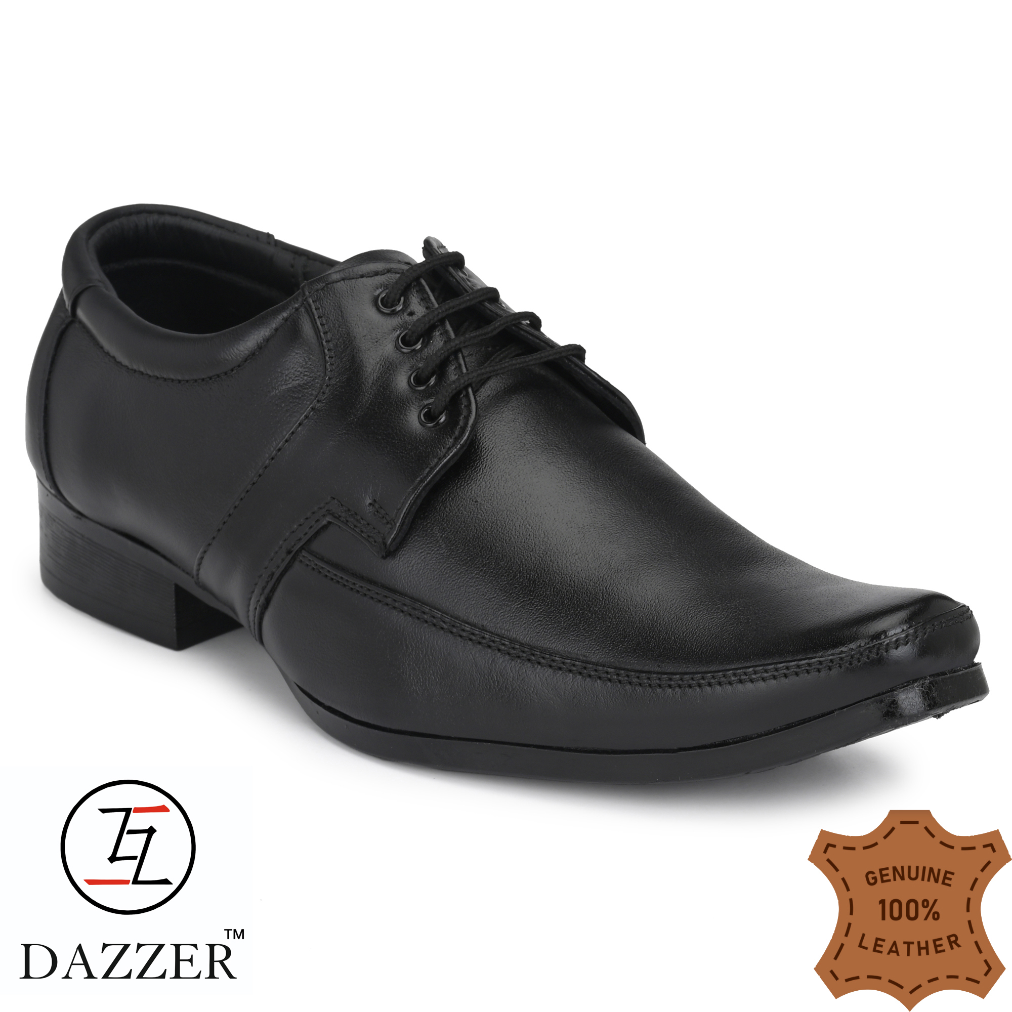 Dazzer 574 Lace Up Leather Formal Shoes For Men 574Black (Black, 6-10, 8 PAIR)