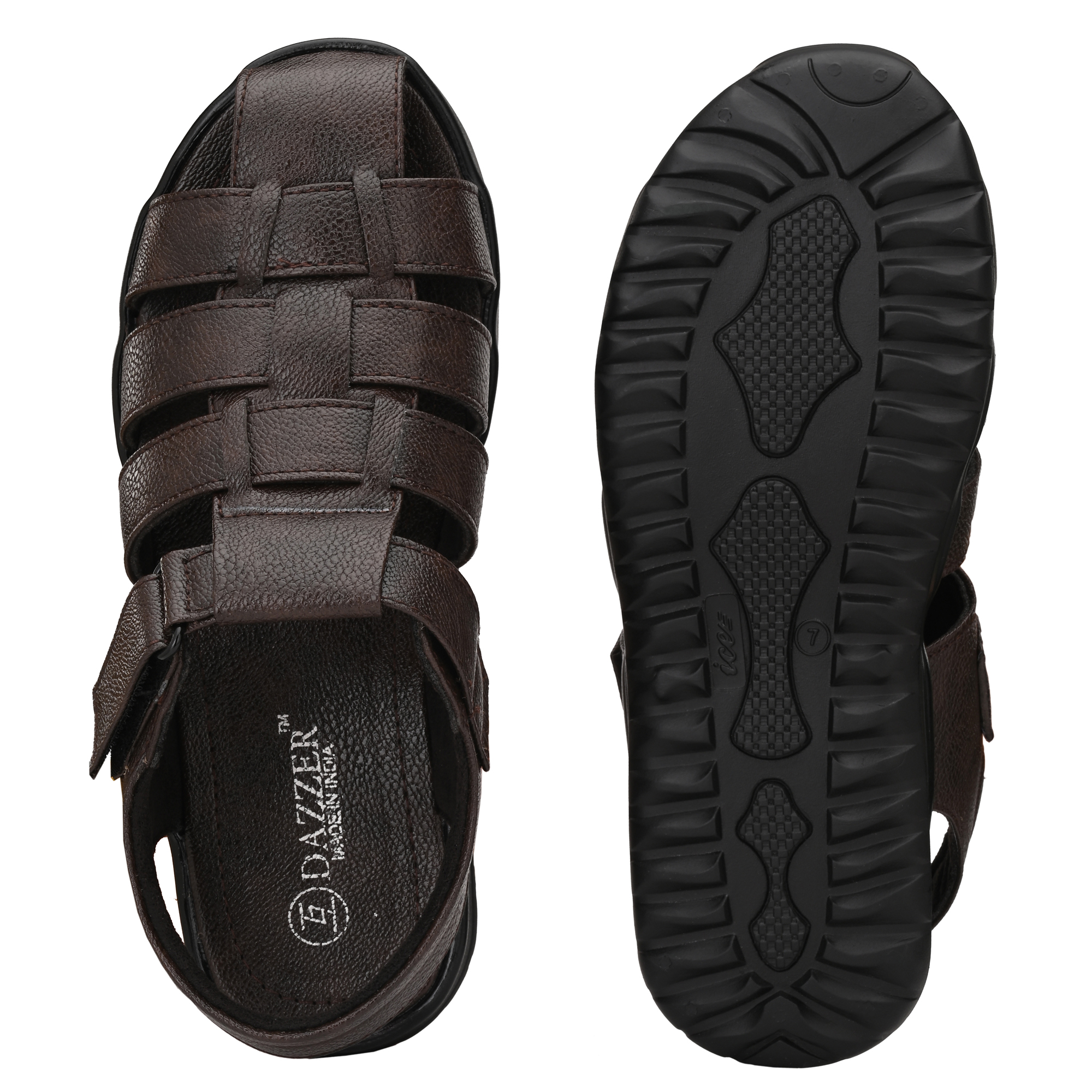 Dazzer 602 Velcro Synthetic Sandals For Men 602Brown (Brown, 6-10, 8 PAIR)