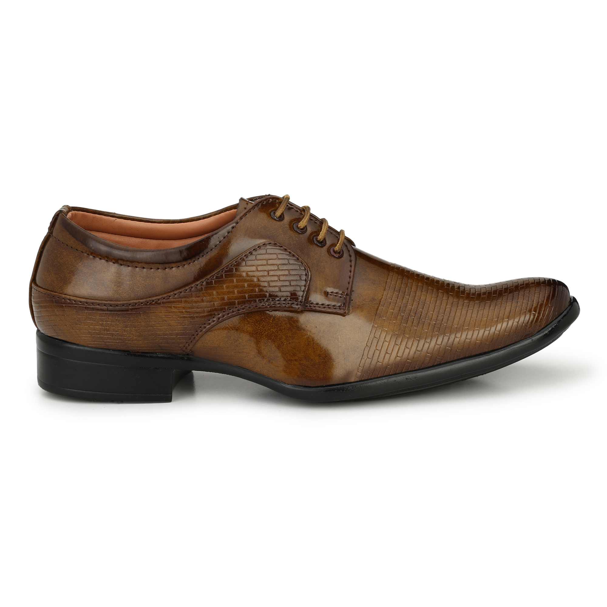 Dazzer 549 Lace Up Patent Formal Shoes For Men 549Tan (Tan, 6-10, 8 PAIR)