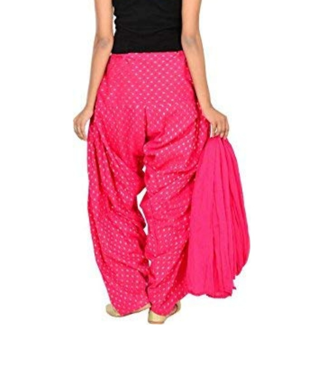 Samridhi Collections Combo Of Women's Cotton Patiala And Dupptta Golden Booti Work (Pink)