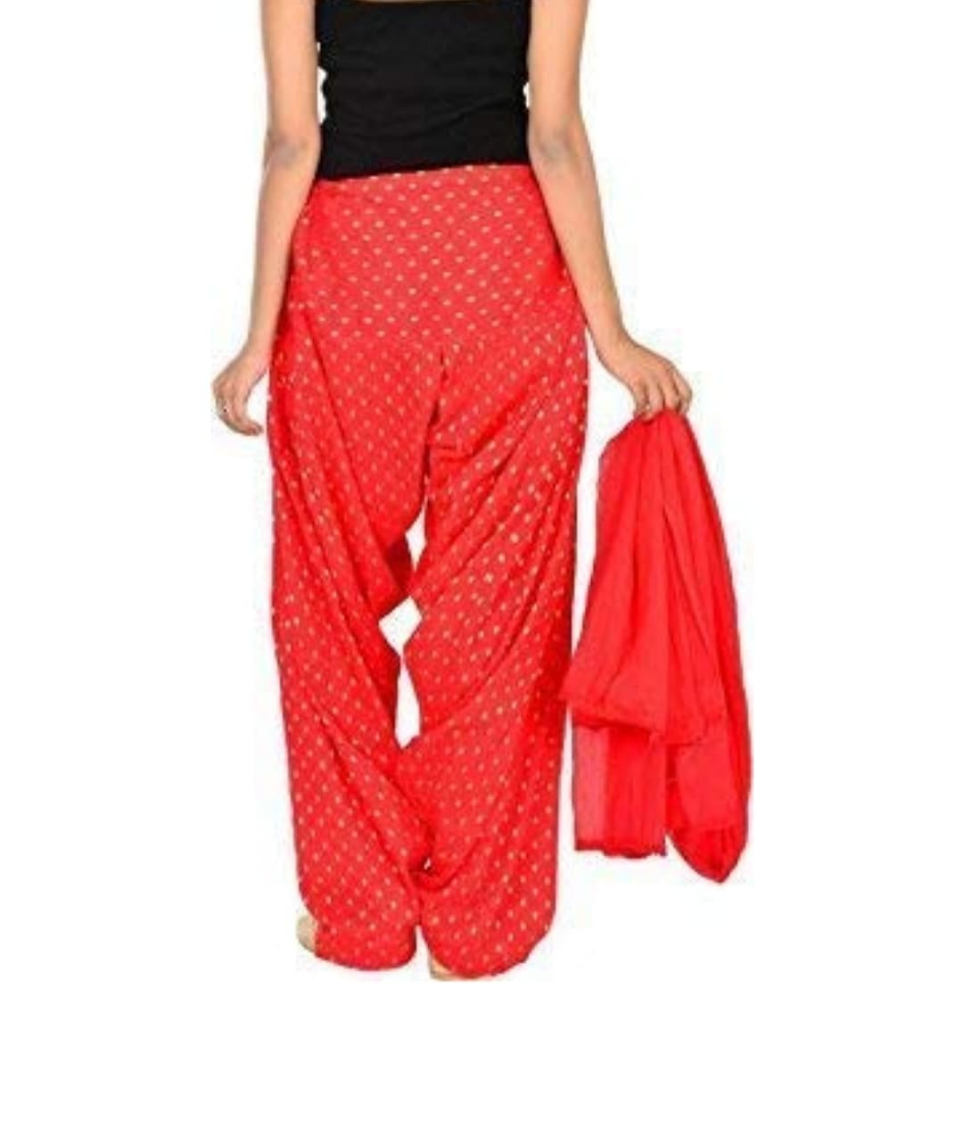 Samridhi Collections Combo Of Women's Cotton Patiala Golden Booti Work With Dupatta (Red)