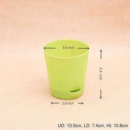3.9 Inch (10 Cm) Krish No. 10 Self Watering Round Plastic Planter (Any Random Color) (set Of 6)