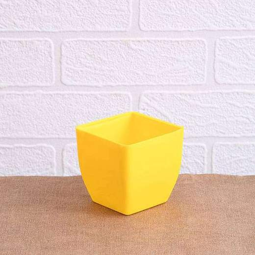 3.3 Inch (8 Cm) Square Plastic Planter With Rounded Edges (Yellow) (set Of 6)