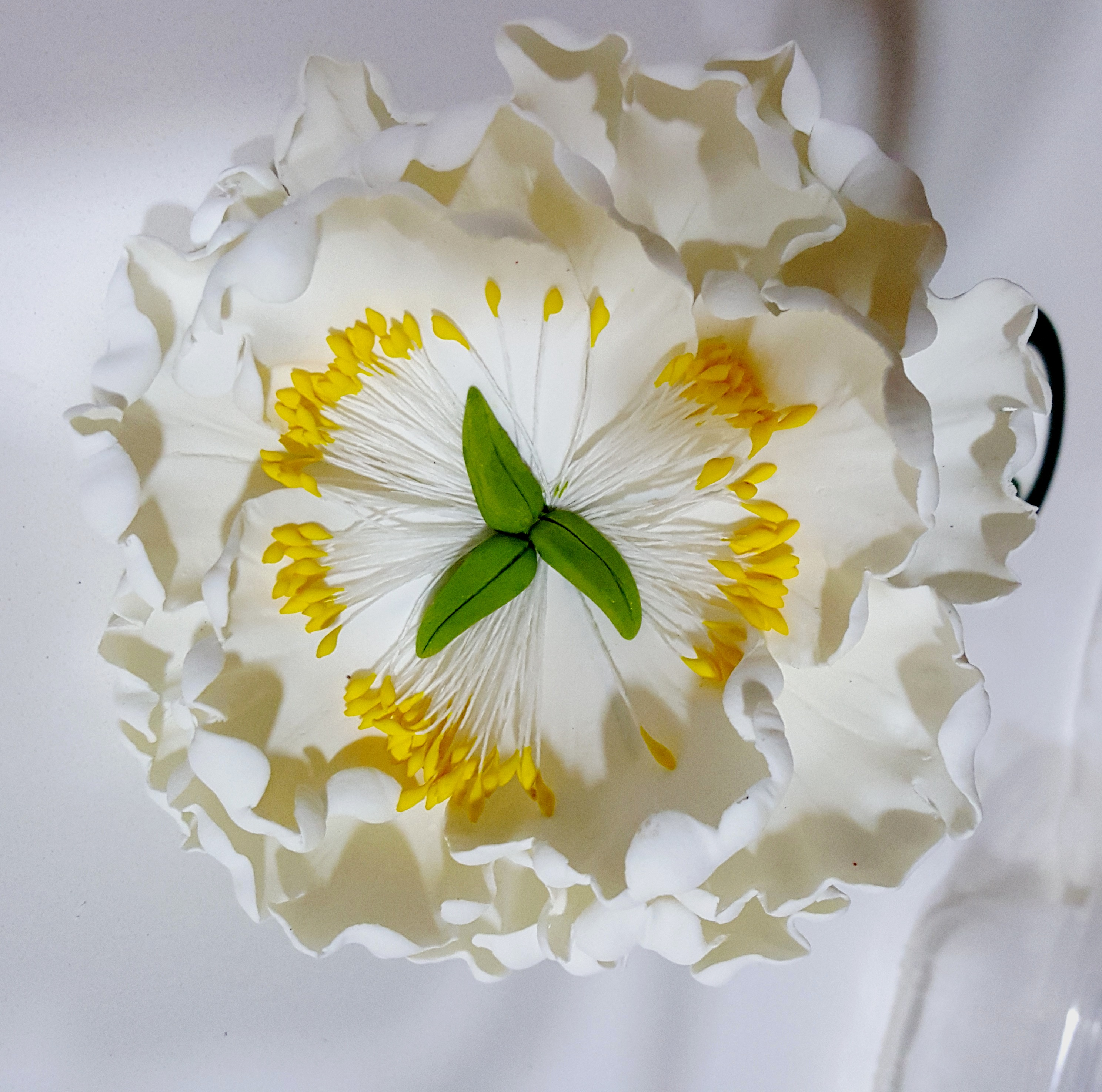 Wired Sugar Flower Open Peony White Colour Sugarcraft
