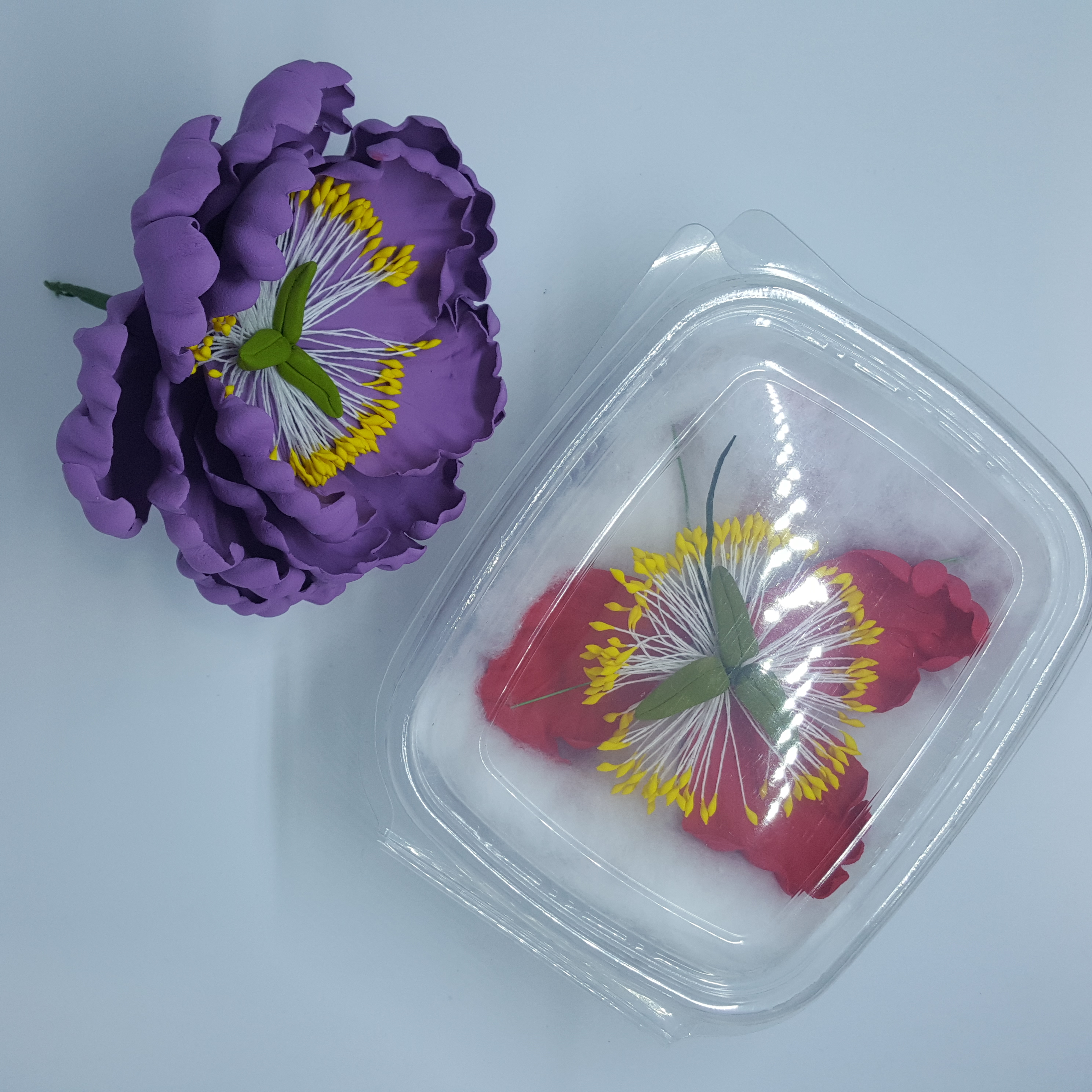 Wired Sugar Flower Open Peony Purple  Colour Sugarcraft