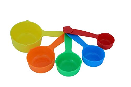Colorful Plastic Measurement/Measuring Cup/Spoon - 1 Set Of 5 Pieces Baking Tool, Kitchen Tool