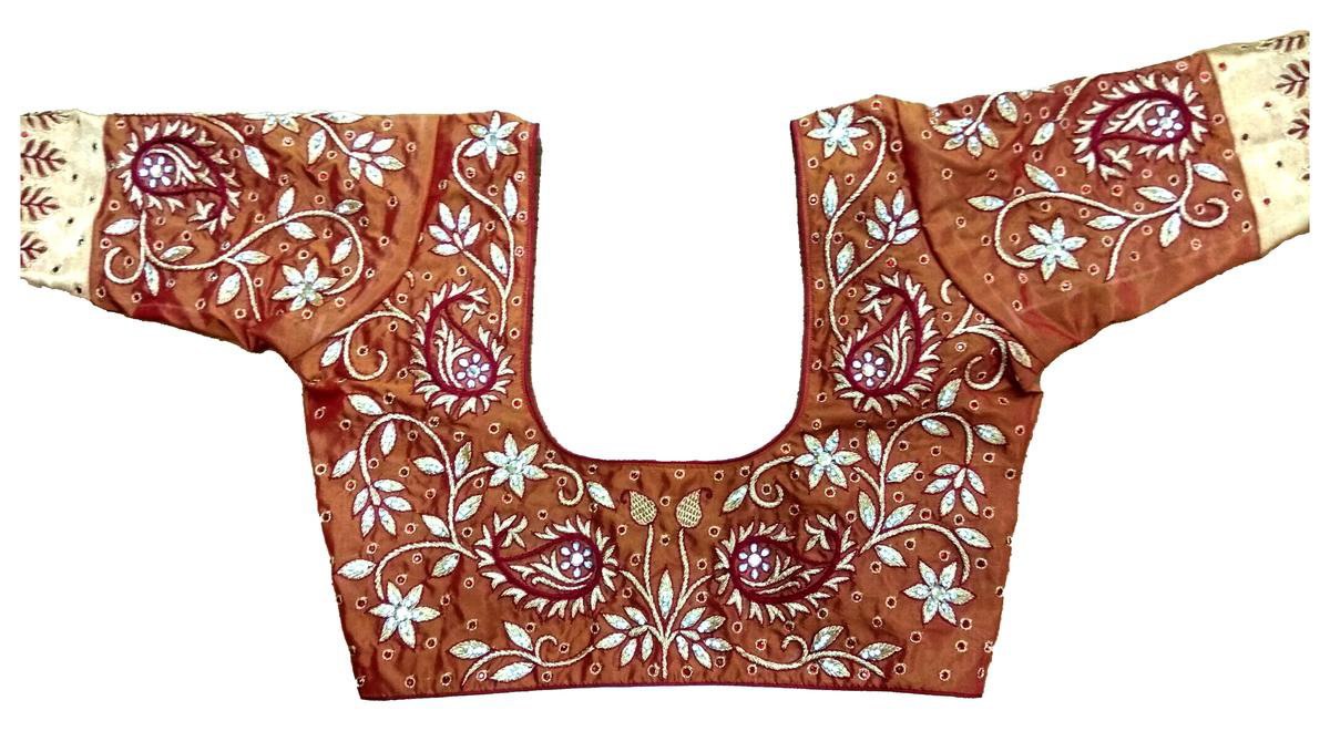 Womens Hand Embroidery Maggam Work Blouse (Yellow Colour)