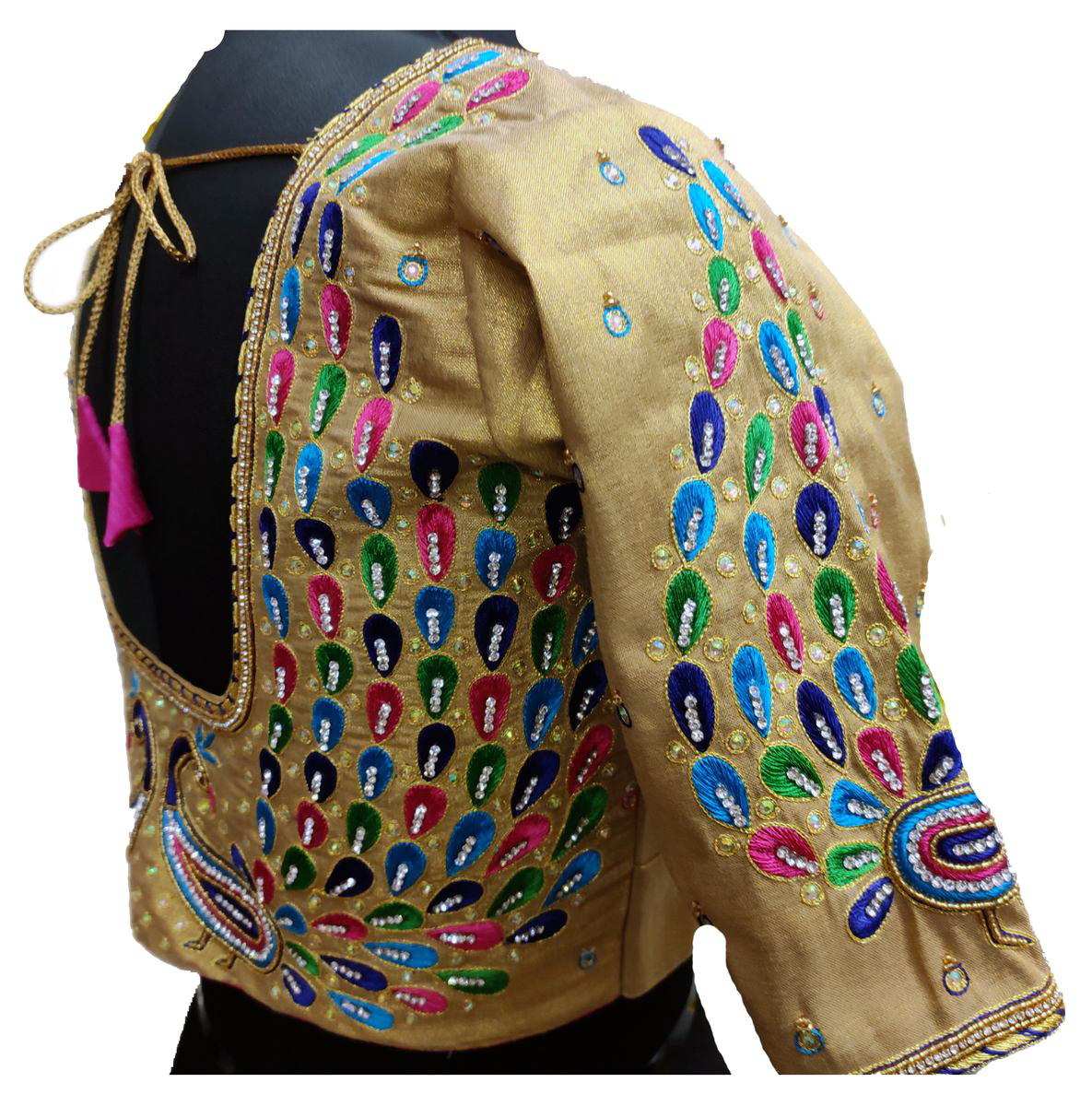 Womens Hand Embroidery Maggam Work Blouse (Gold Colour)