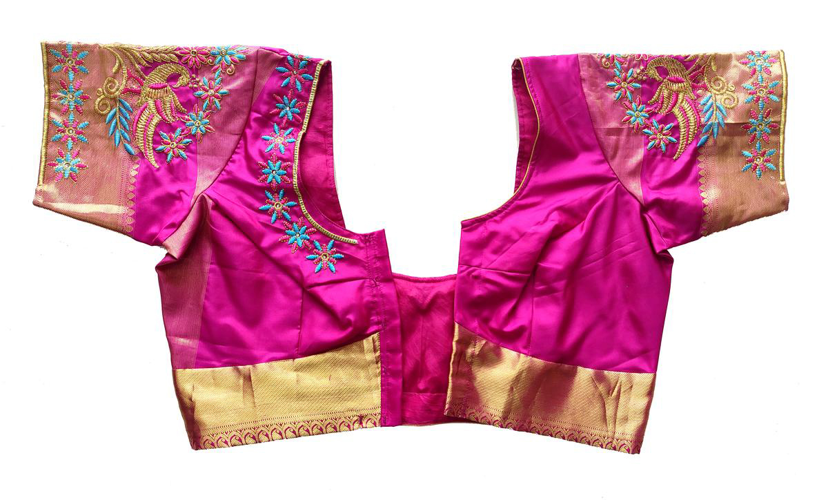 Womens Computer Embroidery Thread Work Blouse (Pink Colour)